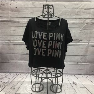 PINK Victoria's Secret Cropped Bling Tee